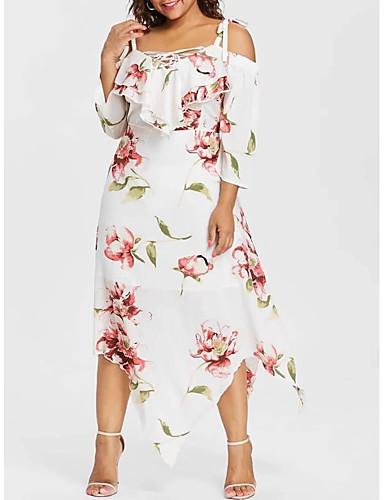 voordelige Grote maten jurken-Dames Chiffon Jurk - Bloemen Maxi