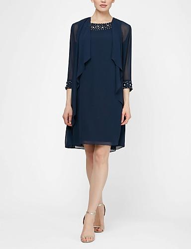 voordelige Wrap Dresses-Tweedelig Met sieraad Kort / Mini Chiffon Bruidsmoederjurken met Kralen door LAN TING Express / Bel