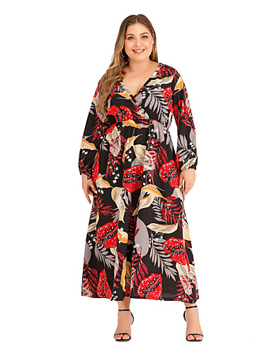 voordelige Grote maten jurken-Dames Wijd uitlopend Jurk - Geometrisch Midi