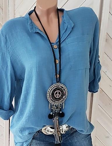 abordables Hauts pour Femmes-Tee-shirt Femme, Couleur Pleine Blanche