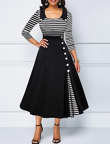 hesapli Vintage Kraliçesi-Kadın's Büyük Bedenler Çan Elbise - Çizgili Gömlek Yaka Midi
