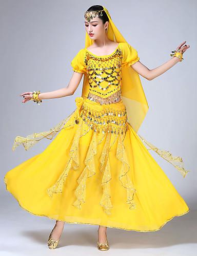 voordelige Shall We®-Buikdans Outfits Dames Opleiding / Prestatie Chiffon / Pailletten Sjerp / Lint / Glitter / Kwastje Korte mouw Natuurlijk Rokken / Top / Helm
