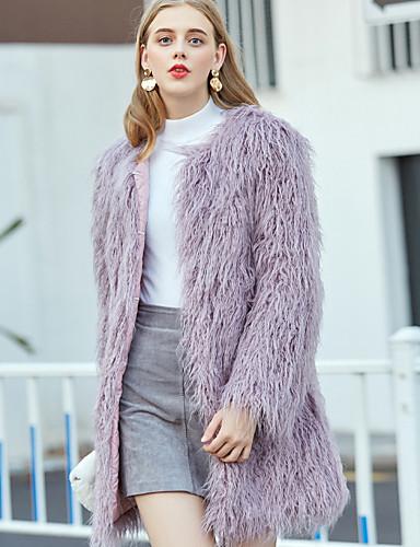 رخيصةأون ملابس نسائية-نسائي مناسب للبس اليومي الشتاء طويلة معطف من الفرو الصناعي, لون سادة نوع من غير طوق كم طويل فرو أزرق فاتح / أخضر فاتح