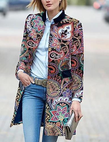 voordelige Damesjassen & trenchcoats-Dames Dagelijks Standaard Winter Lang Trenchcoat, Geometrisch Opstaand Lange mouw Polyester Print Rood