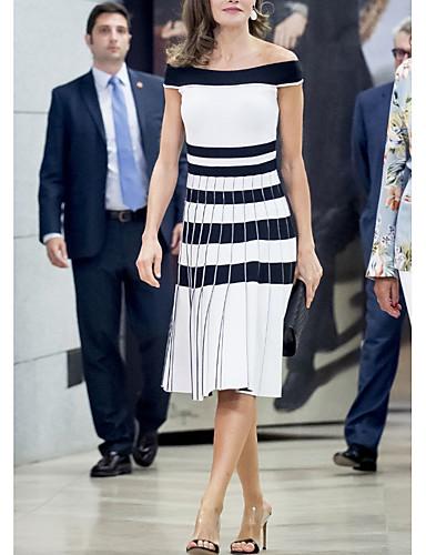 billige Kjoler-Dame Elegant Skjede Kjole - Stripet Midi