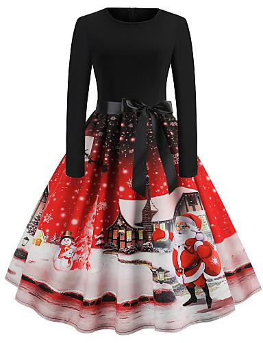 abordables Robes Femme-Femme Rétro Vintage Mi-long Trapèze Robe - Imprimé, Motif de flocon de neige Tribal père Noël Violet Bleu Rouge S M L Manches Longues