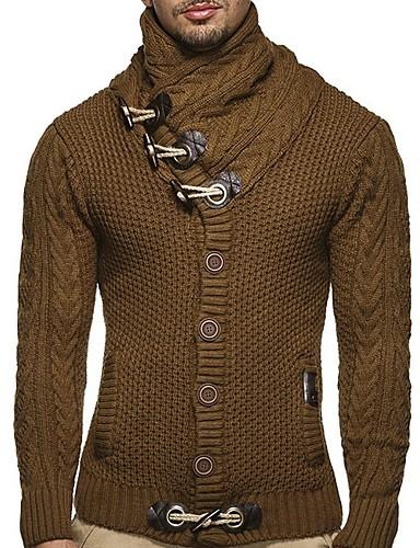 voordelige Herenmode-Heren Effen Lange mouw Vest, Coltrui Zwart / Kameel / Donkergrijs US32 / UK32 / EU40 / US34 / UK34 / EU42 / US36 / UK36 / EU44