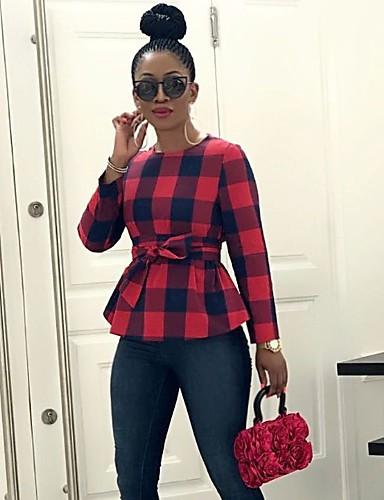 Χαμηλού Κόστους Γυναικείες Μπλούζες-Γυναικεία Μπλούζα Καρό Ρουμπίνι