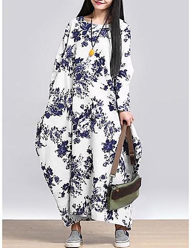 levne Dámské šaty-Dámské Vintage Swing Šaty - Geometrický, Tisk Maxi