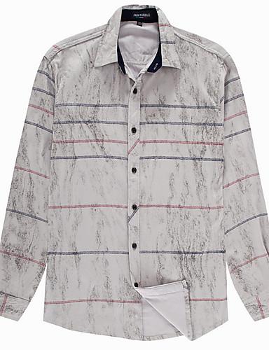 voordelige Herenoverhemden-Heren Overhemd Gestreept Lichtgrijs