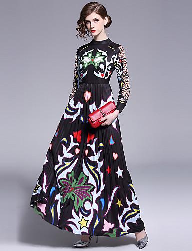voordelige Maxi-jurken-Dames Boho Elegant Wijd uitlopend Jurk - Luipaard Ruitjes, Geplooid Print Maxi