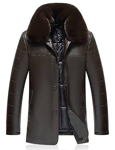 voordelige Herenjacks & jassen-Heren Dagelijks Standaard Winter Normaal Leren jacks, Ruitjes V-hals Lange mouw Spandex Zwart / Bruin