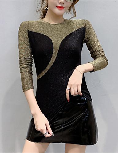 billige Dametopper-Body Dame - Fargeblokk Grunnleggende / Elegant Svart