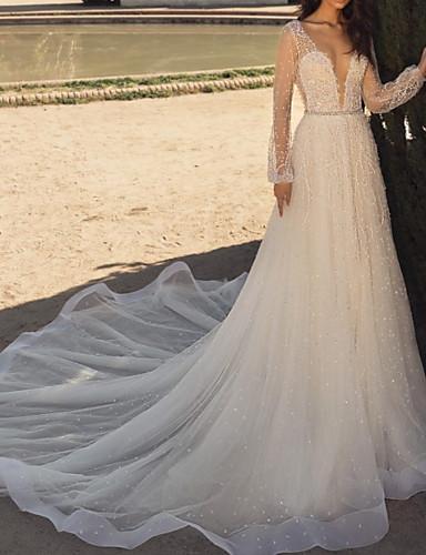 billige Bryllupskjoler 2019-A-linje V-hals Svøpeslep Blonder / Tyll Made-To-Measure Brudekjoler med Appliqué / Krystalldetaljer av LAN TING Express