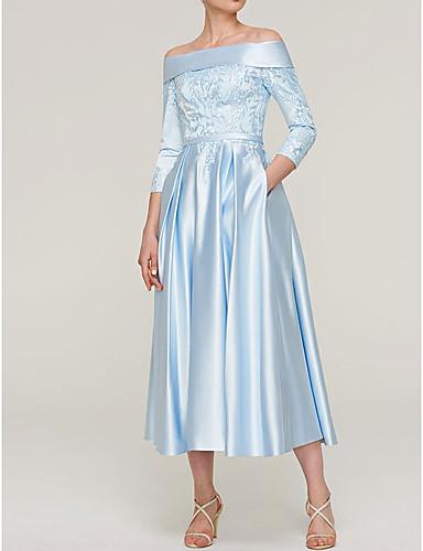 voordelige Korte jurken-A-lijn Schouderafhangend Over de knie Satijn Bruidsmoederjurken met Appliqués door LAN TING Express