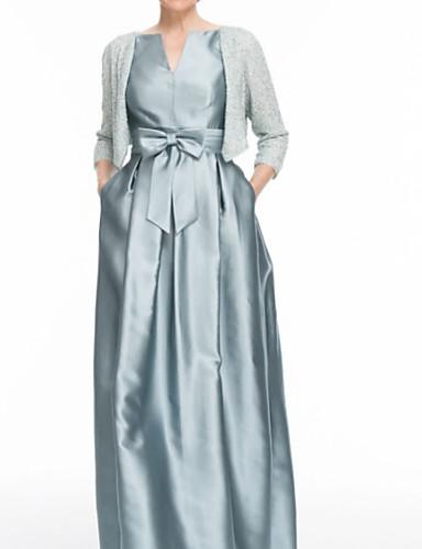 voordelige Wrap Dresses-Tweedelig Met sieraad Tot de grond Satijn Bruidsmoederjurken met Sjerp / Lint / Ruches door LAN TING Express / Wrap inbegrepen
