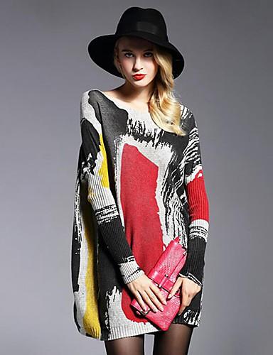 billige Dametopper-Dame Geometrisk / Fargeblokk / Abstrakt Langermet Pullover, Løse skuldre Hvit / Grå En Størrelse