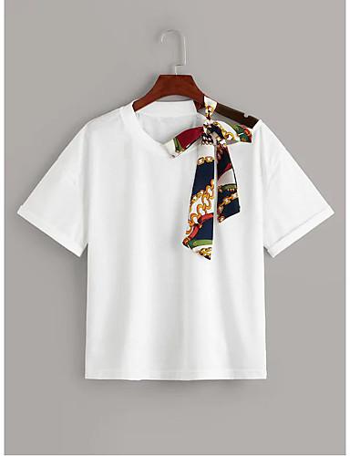 abordables Hauts pour Femmes-Tee-shirt Femme, Bloc de Couleur / Portrait Mosaïque / Imprimé Basique Noir / Blanc Blanche