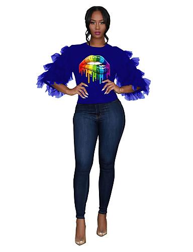 abordables Hauts pour Femmes-Tee-shirt Femme, Portrait Maille / Mosaïque Chic de Rue Noir