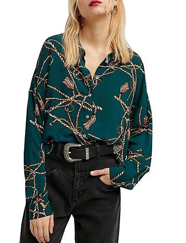 billige Dametopper-Skjorte Dame - Grafisk Grønn
