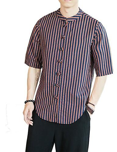 voordelige Herenoverhemden-Heren Vintage / Elegant Overhemd Effen / Gestreept Bruin