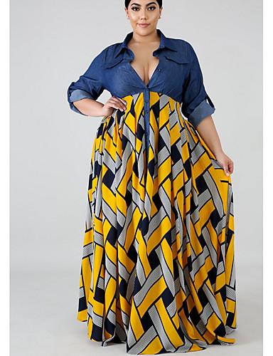 billige Nyheter-Dame Swing Kjole - Geometrisk Maksi