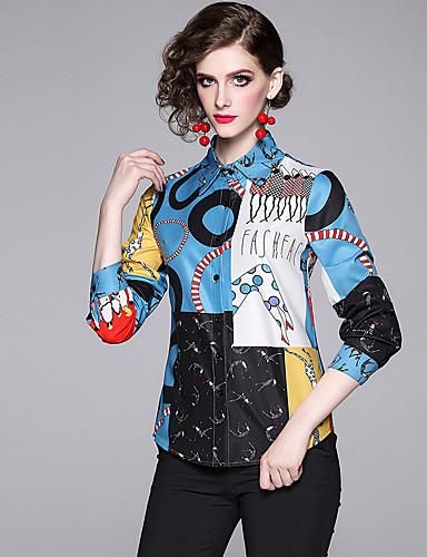 billige Topper til damer-Skjorte Dame - Geometrisk / Tegneserie / Bokstaver, Trykt mønster Vintage / Elegant Blå