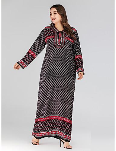 voordelige Grote maten jurken-Dames Vintage Standaard Recht Jurk - Bloemen, Geborduurd Maxi