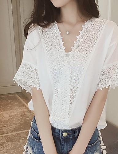Χαμηλού Κόστους Γυναικείες Μπλούζες-Γυναικεία Μπλούζα Μονόχρωμο Λευκό
