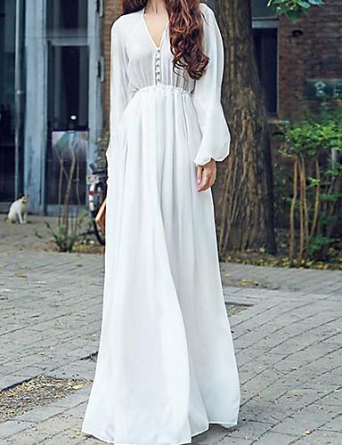 abordables Robes Femme-Femme Maxi Mousseline de Soie Robe Couleur Pleine Blanche S M L Manches Longues