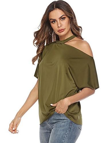 billige Overdele til damer-Dame - Ensfarvet T-shirt Sort