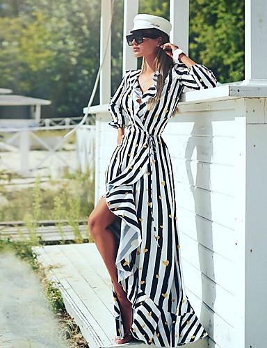 billige Kjoler-Dame Gatemote Skjede Kjole - Stripet Geometrisk, Trykt mønster Maksi