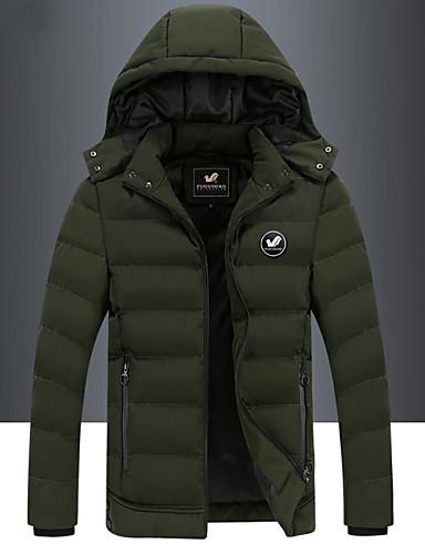 voordelige Herenjacks & jassen-Heren Dagelijks Winter Normaal Trenchcoat, Effen Zonder Kraag Lange mouw Polyester Zwart / Leger Groen / Grijs
