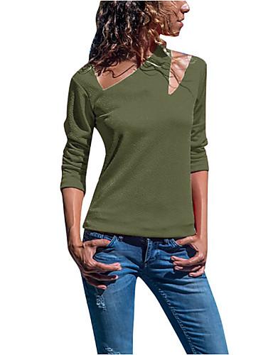 billige Dametopper-T-skjorte Dame - Ensfarget Grunnleggende Militærgrønn