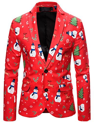 voordelige Herenmode-Heren Blazer, Kleurenblok Overhemdkraag Polyester Rood