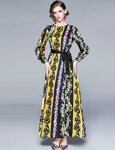 voordelige Maxi-jurken-Dames Elegant A-lijn Jurk - Gestreept Bloemen, Veters Print Maxi