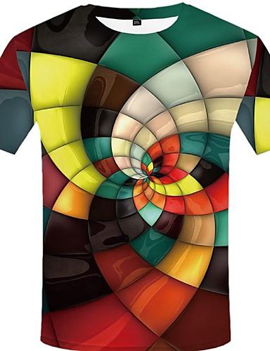 voordelige Heren T-shirts & tanktops-Heren Street chic / overdreven T-shirt Effen / Kleurenblok / Grafisch Regenboog