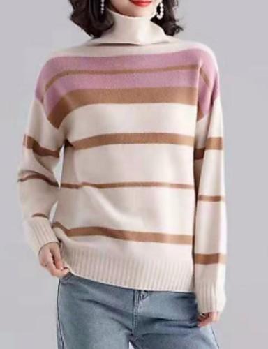 billige Dametopper-Dame Stripet Langermet Pullover, Rullekrage Rosa / Blå M / L / XL