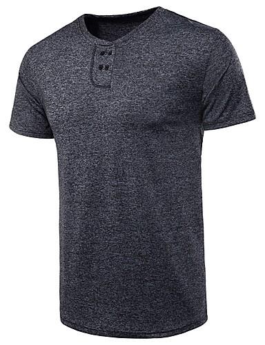 voordelige Heren T-shirts & tanktops-Heren Standaard T-shirt Effen Lichtgrijs