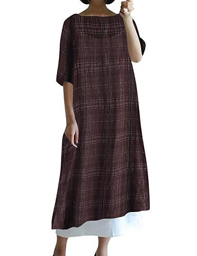 voordelige Grote maten jurken-Dames Recht Jurk - Effen Midi