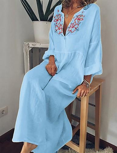 voordelige Maxi-jurken-Dames Wijd uitlopend Jurk - Bloemen Maxi