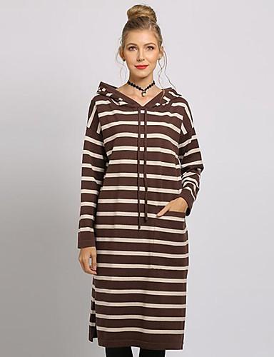 billige Dametopper-Dame Stripet Langermet Pullover, Med hette Hvit / Blå / Kamel En Størrelse
