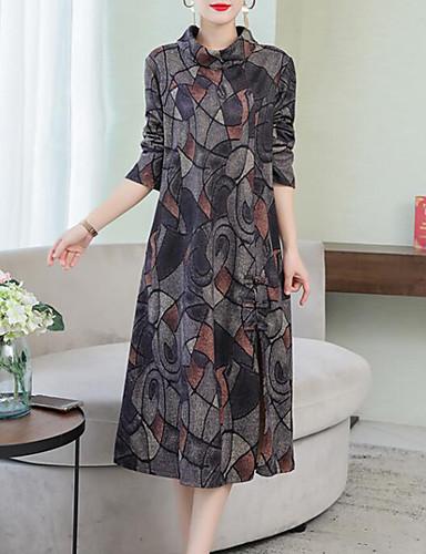voordelige Grote maten jurken-Dames Street chic Elegant A-lijn Jurk - Kleurenblok, Geplooid Midi
