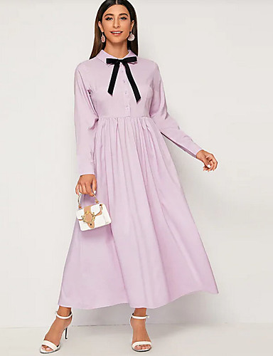 voordelige Maxi-jurken-Dames Standaard Overhemd Jurk - Effen, Strik Patchwork Maxi
