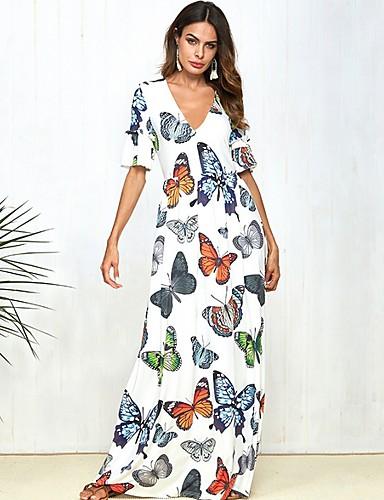 voordelige Maxi-jurken-Dames Wijd uitlopend Jurk - dier Maxi