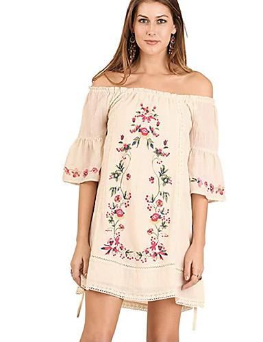 voordelige Grote maten jurken-Dames Elegant Recht Jurk - Bloemen Boven de knie