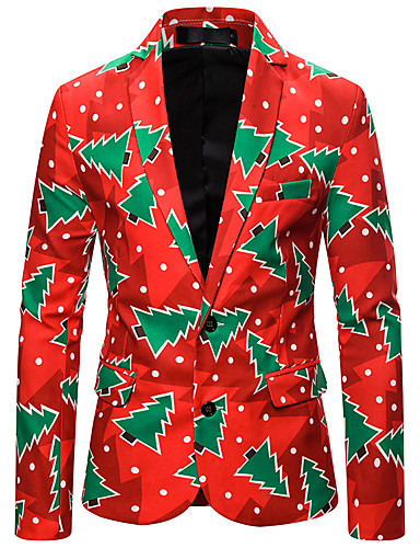 voordelige Herenmode-Heren Blazer, Bloemen Overhemdkraag Polyester Rood