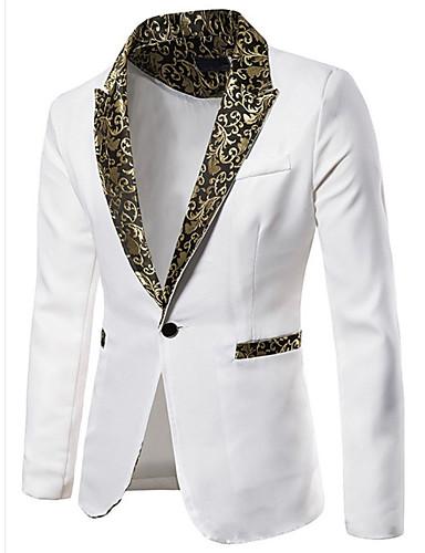 voordelige Herenmode-Heren Blazer, Effen Overhemdkraag Polyester Zwart / Wit