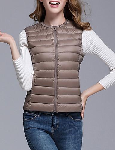 voordelige Dames donsjassen & parka's-Dames Effen Lang Vest, Polyester Zwart / Wijn / Wit S / M / L