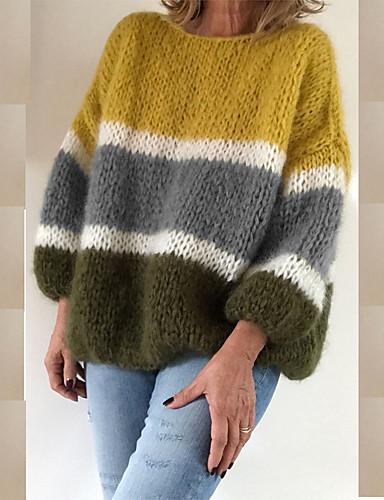 billige Dametopper-Dame Regnbue Langermet Pullover, Rund hals Gul / Blå / Rød S / M / L